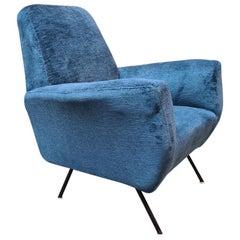 Italian Blue Velvet and Metal, Complete Renewed Armchair, 1950s