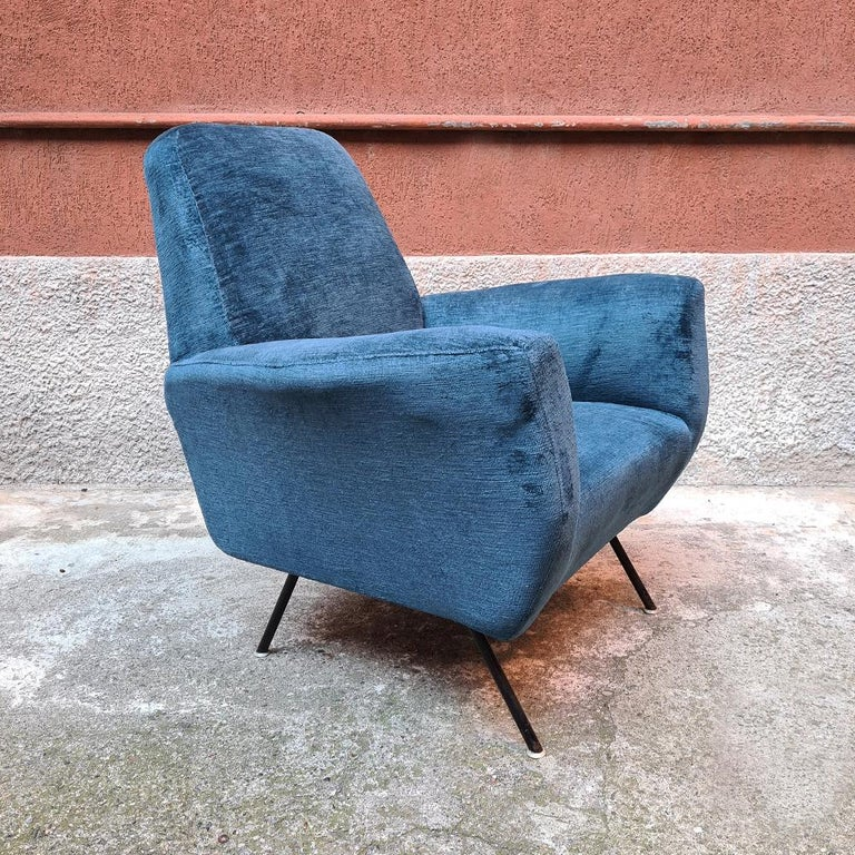 Italian Blue Velvet and Metal, Complete Renewed Armchairs, 1950s For Sale 5