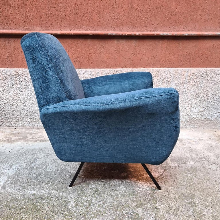 Italian Blue Velvet and Metal, Complete Renewed Armchairs, 1950s For Sale 6