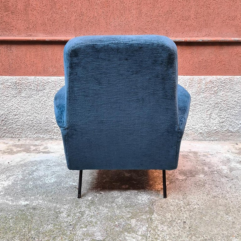 Italian Blue Velvet and Metal, Complete Renewed Armchairs, 1950s For Sale 7
