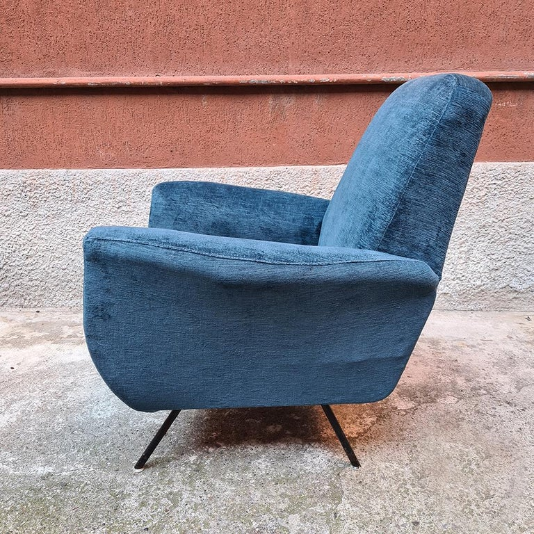 Italian Blue Velvet and Metal, Complete Renewed Armchairs, 1950s For Sale 8