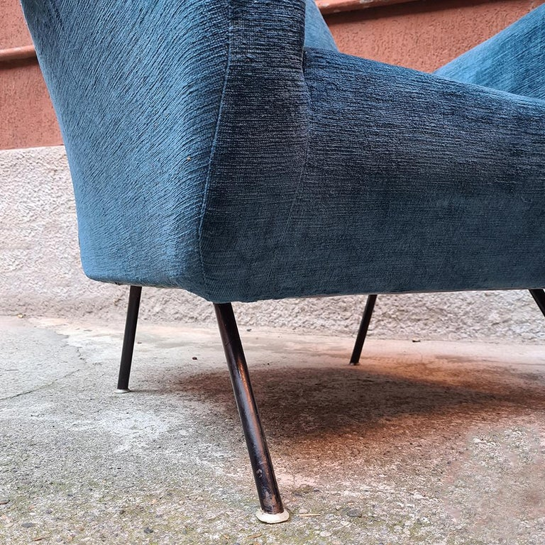Italian Blue Velvet and Metal, Complete Renewed Armchairs, 1950s For Sale 9