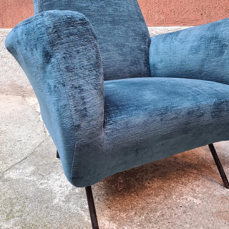 Italian Blue Velvet and Metal, Complete Renewed Armchairs, 1950s For Sale 10