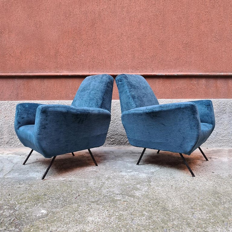 Mid-Century Modern Italian Blue Velvet and Metal, Complete Renewed Armchairs, 1950s For Sale