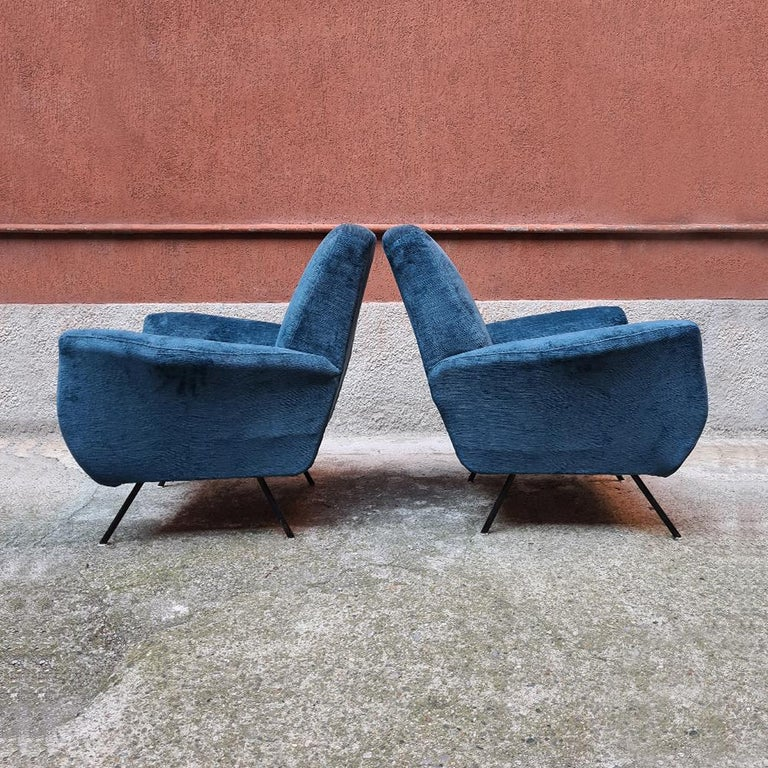 Italian Blue Velvet and Metal, Complete Renewed Armchairs, 1950s In Good Condition For Sale In MIlano, IT
