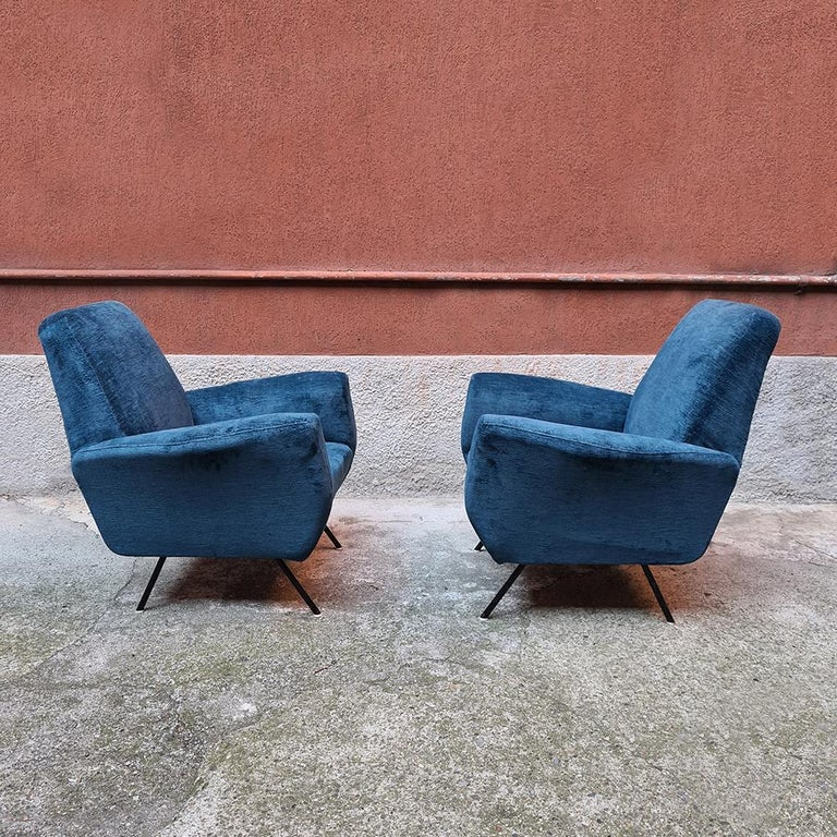 Mid-20th Century Italian Blue Velvet and Metal, Complete Renewed Armchairs, 1950s For Sale