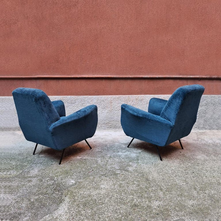 Italian Blue Velvet and Metal, Complete Renewed Armchairs, 1950s For Sale 1