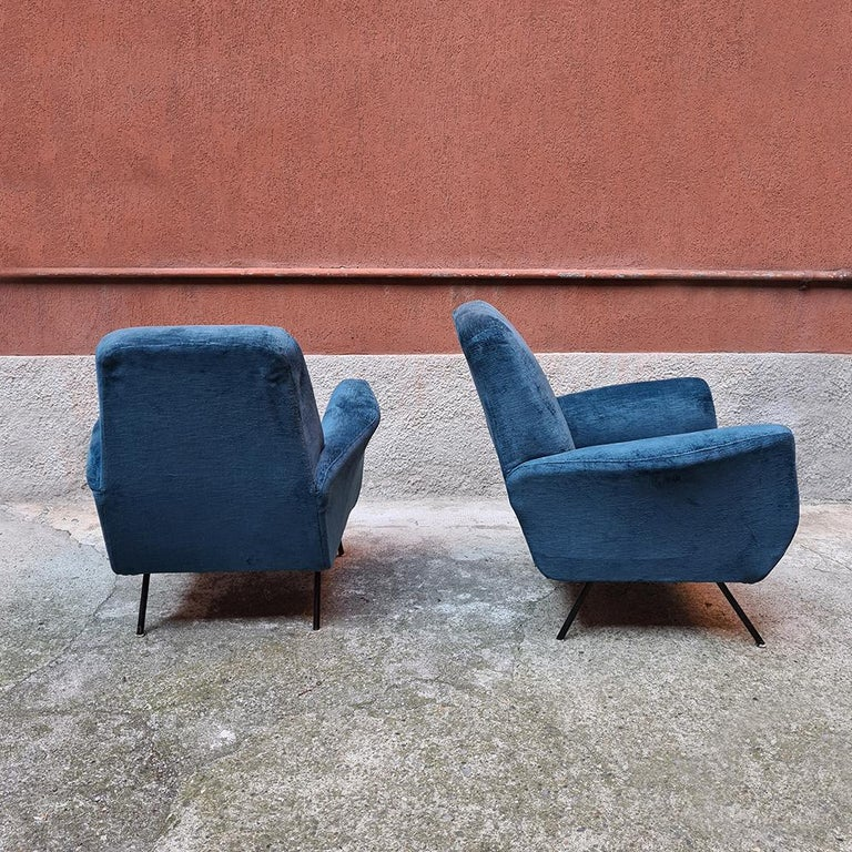 Italian Blue Velvet and Metal, Complete Renewed Armchairs, 1950s For Sale 2