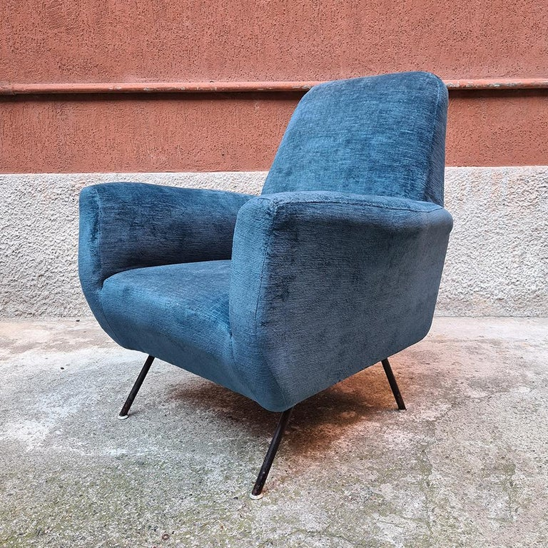 Italian Blue Velvet and Metal, Complete Renewed Armchairs, 1950s For Sale 3
