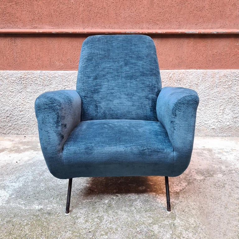 Italian Blue Velvet and Metal, Complete Renewed Armchairs, 1950s For Sale 4