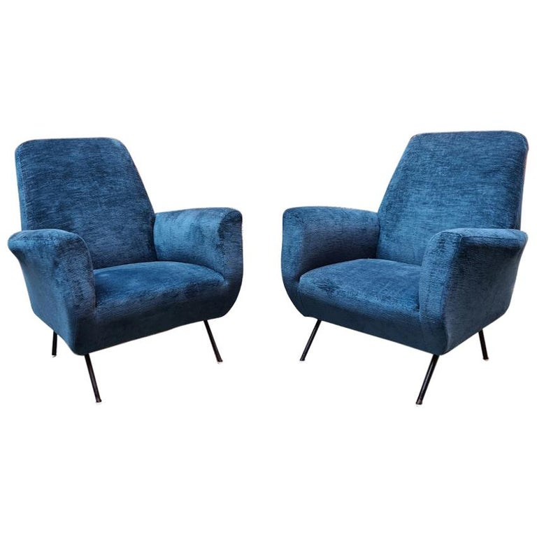 Italian Blue Velvet and Metal, Complete Renewed Armchairs, 1950s For Sale