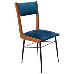 Italian Blue Velvet Chair with Wooden Frame and Metal Rod, 1960s
