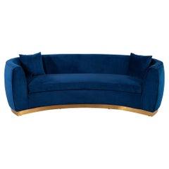 Italian Blue Velvet Curved Sofa with Brass Base
