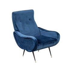 Italian Blue Velvet Lounge Chair Attributed to Zanuso Style