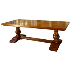 Italian BOCCI Old Walnut 2 Pedestal Trestle Dining Table, Available Custom Size