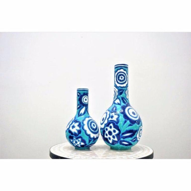 Late 20th Century Italian Bold Blue and White Vases, a Pair For Sale