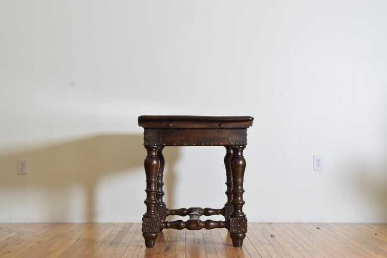 Italian, Bolognese, Late Baroque Walnut & Brass Mounted 1-Drawer Table, 18th Cen In Good Condition For Sale In Atlanta, GA