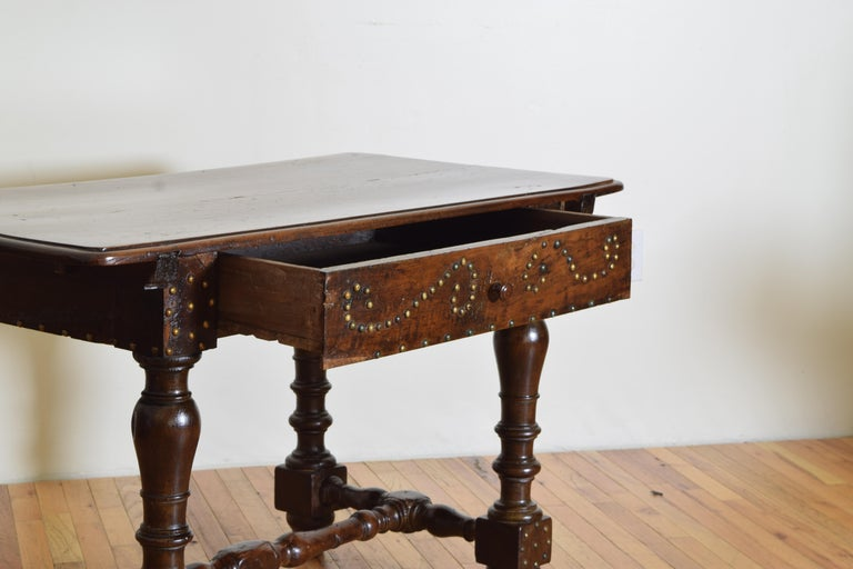 18th Century Italian, Bolognese, Late Baroque Walnut & Brass Mounted 1-Drawer Table, 18th Cen For Sale