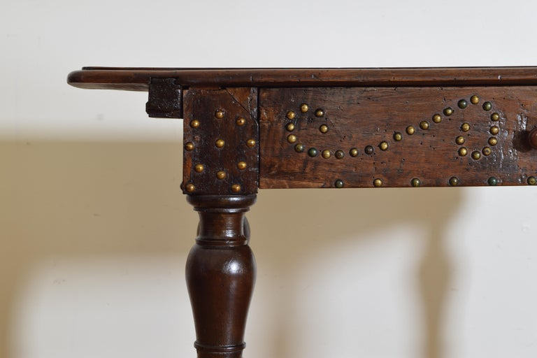 Italian, Bolognese, Late Baroque Walnut & Brass Mounted 1-Drawer Table, 18th Cen For Sale 1