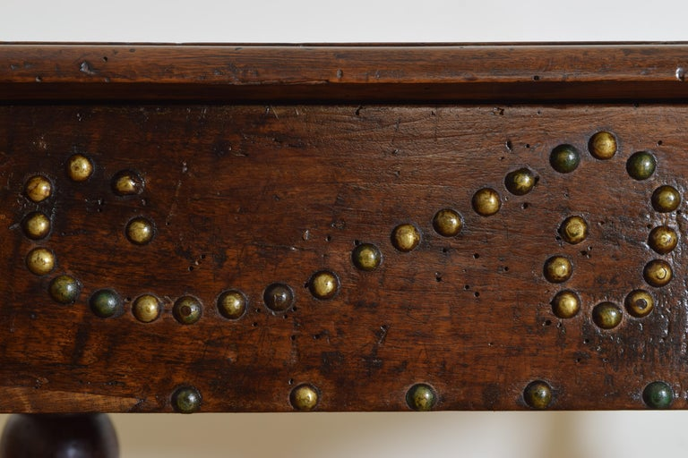 Italian, Bolognese, Late Baroque Walnut & Brass Mounted 1-Drawer Table, 18th Cen For Sale 2