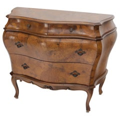 Italian Bombe Olive Wood 3-Drawer Chest Dresser