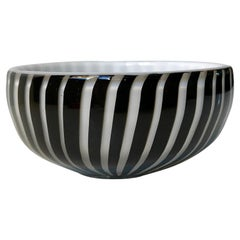 Italian Bonbon Striped Glass Dish from Murano, 1950s