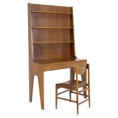 Italian Bookcase Desk with Wooden Chair, Original Condition