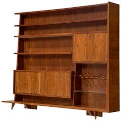 Italian Bookcase in Walnut and Oak, 1950s