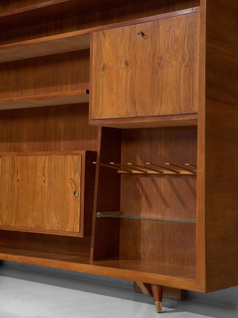 Glass Italian Bookcase in Walnut and Oak For Sale
