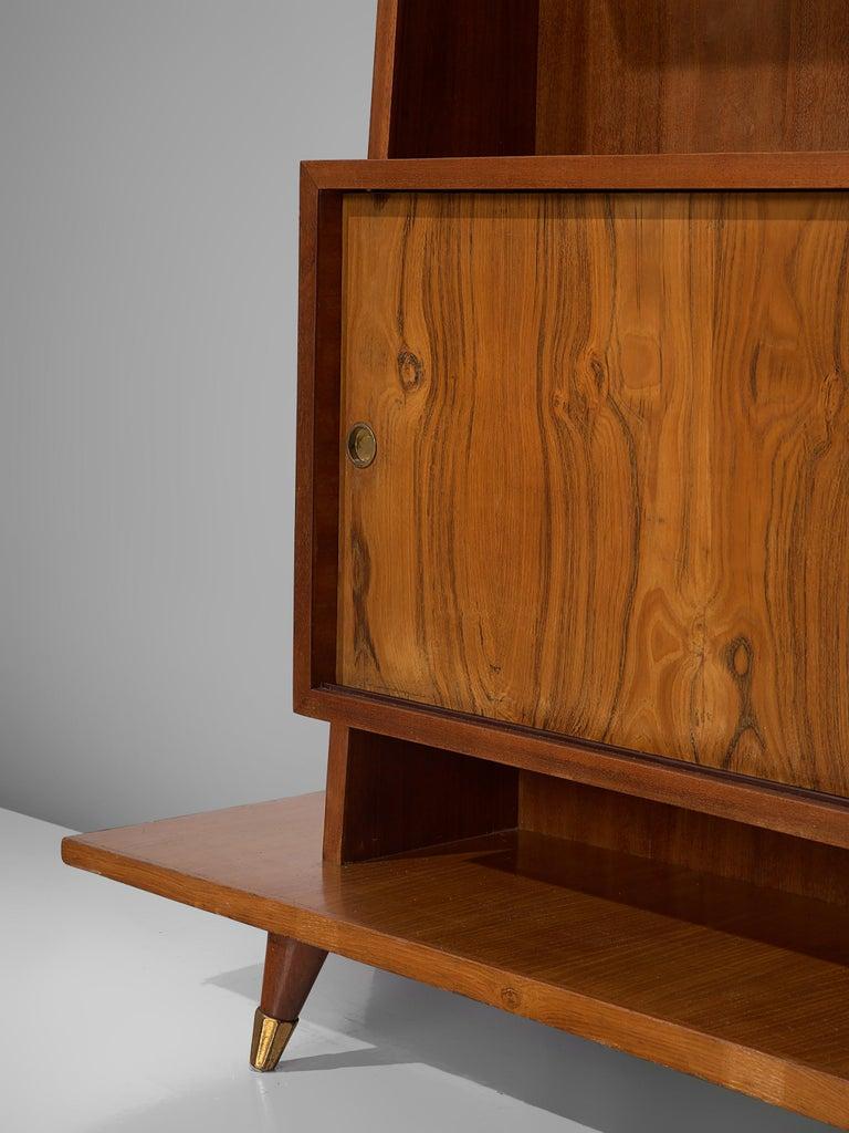 Italian Bookcase in Walnut and Oak For Sale 1
