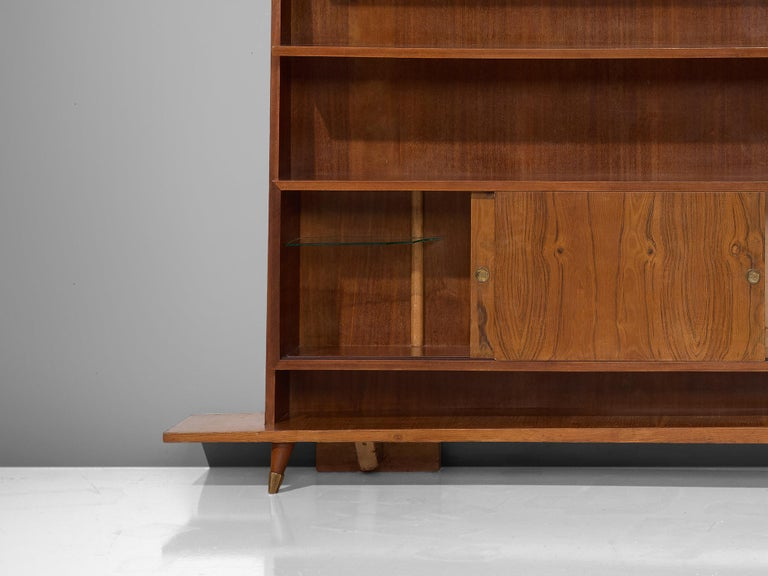 Italian Bookcase in Walnut and Oak For Sale 2