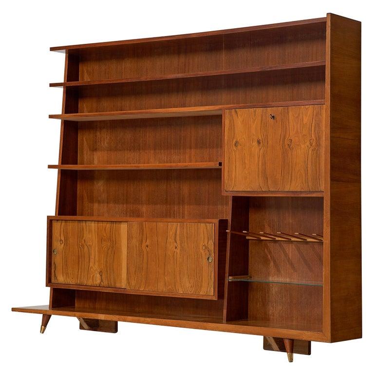 Italian Bookcase in Walnut and Oak For Sale