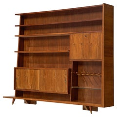 Italian Bookcase in Walnut and Oak
