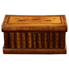 "Italian ""Books"" Casket Box, Hidden Compartment, Walnut, Ebony, Maple, circa 1900"