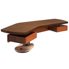 Schirolli Boomerang Desk in Wood, Italy, 1960s.