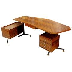 Italian Boomerang Rosewood Desk, 1960s