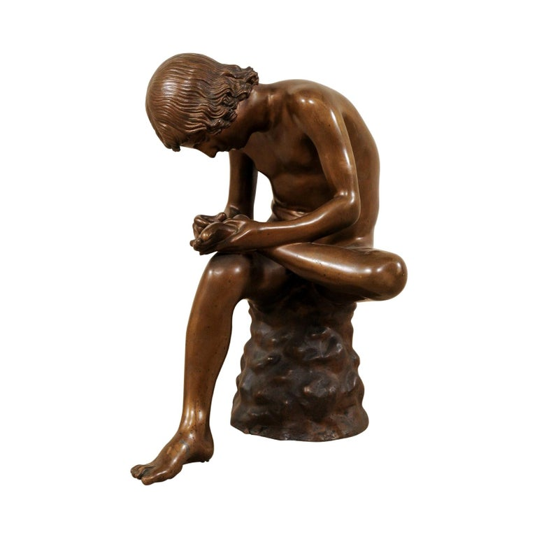 "Italian ""Boy with Thorn"" or Fedele Statue Finely Reproduced in Bronze For Sale"