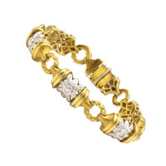 Italian Bracelet 3 Carat of Diamonds 18 Karat Yellow Gold