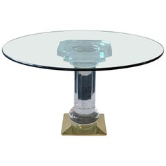 Italian Brass, Acrylic and Glass Dining Table, 1970s
