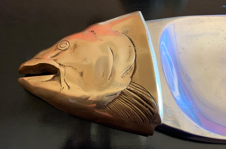 Italian Brass and Aluminum Fish Serving Platter In Good Condition For Sale In Los Angeles, CA