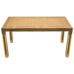 Italian Brass and Bamboo Dining Table or Desk, Crespi Style, 1970s