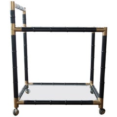 Italian Brass and Black Faux Bamboo Bar Cart, Billy Haines Style