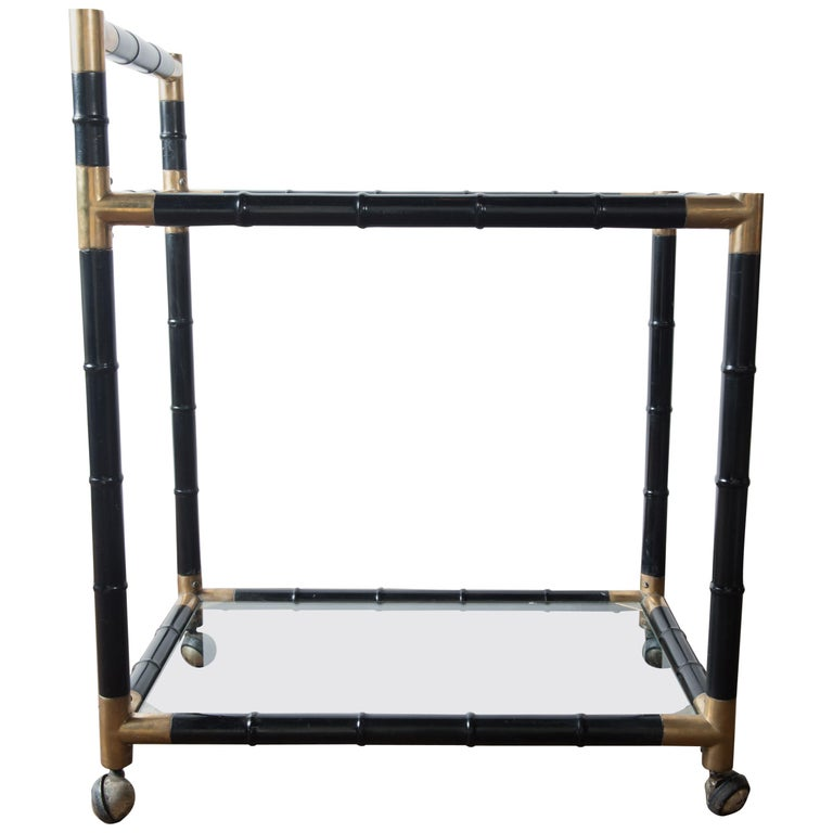 Italian Brass and Black Faux Bamboo Bar Cart, Billy Haines Style For Sale