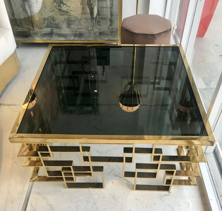 Italian Brass and Black Glass Cocktail Table For Sale 5