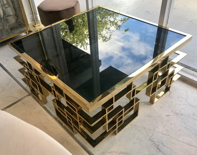 Mid-Century Modern Italian Brass and Black Glass Cocktail Table For Sale