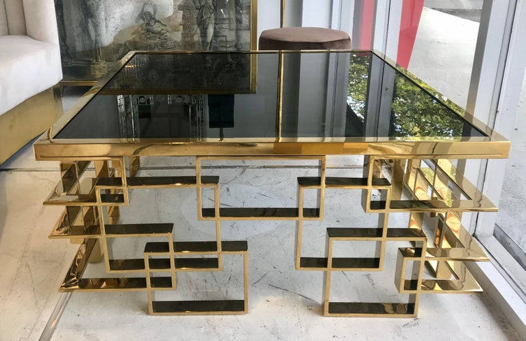Mid-20th Century Italian Brass and Black Glass Cocktail Table For Sale