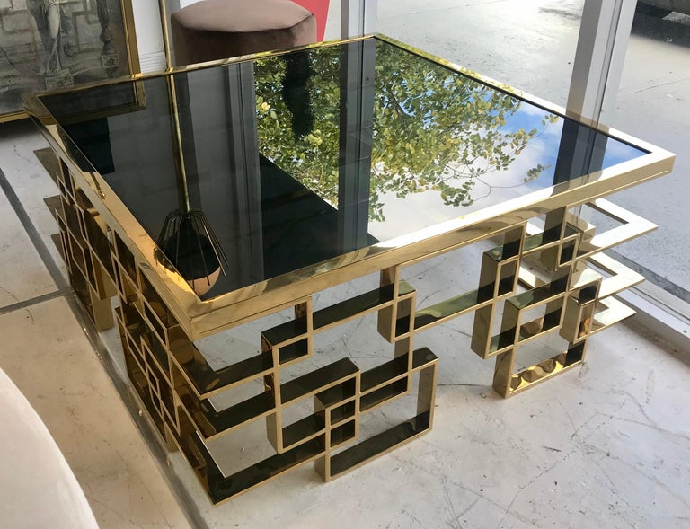 Italian Brass and Black Glass Cocktail Table For Sale 1