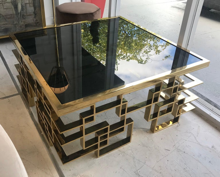 Italian Brass and Black Glass Cocktail Table For Sale 2