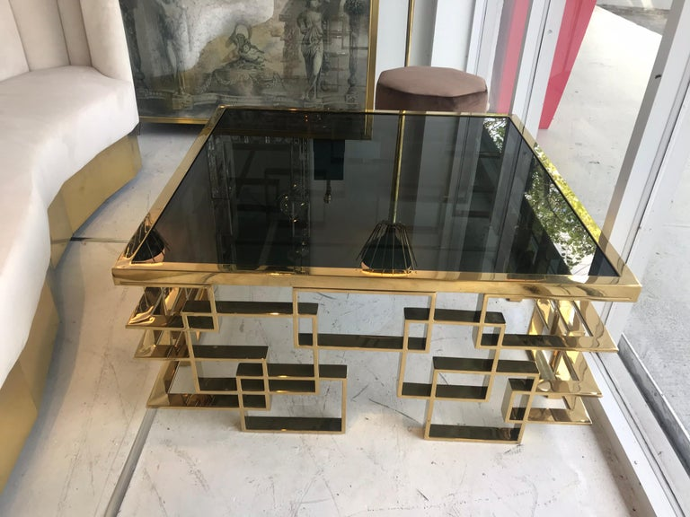 Italian Brass and Black Glass Cocktail Table For Sale 3