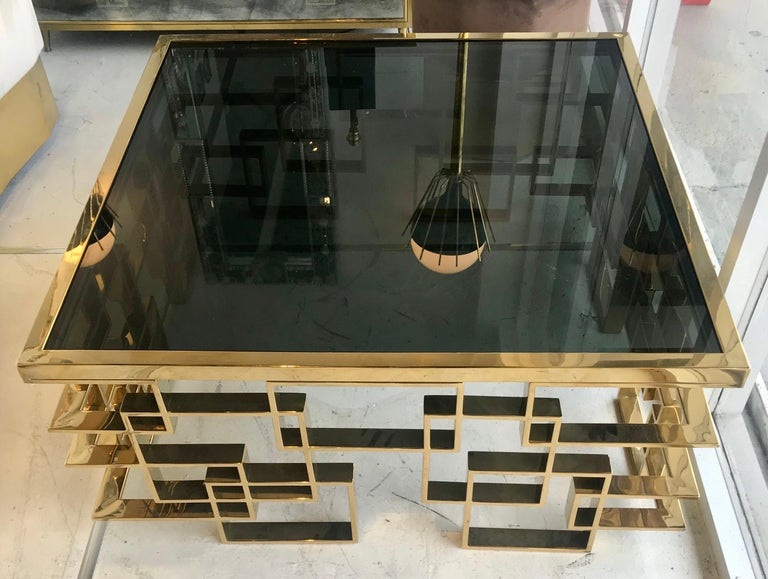 Italian Brass and Black Glass Cocktail Table For Sale 4